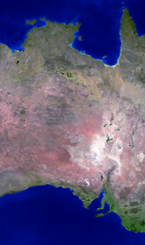 Australia land mass face multiple light